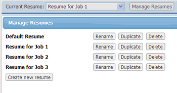 manage multiple resumes