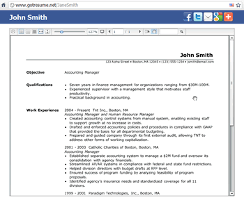 Instant Resume Website  Image Of Resume